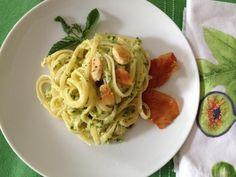 Linguine con pesto di zucchine e mandorle - ricetta #pasta