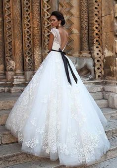 Backless, Wedding Ball Gown with Black Belt