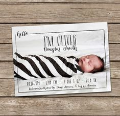 Birth Announcement Hello Oliver Baby Boy Custom by deanworks, $15.00