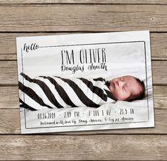 Geburtsanzeige: Hallo Oliver Baby Boy benutzerdefinierte Foto Geburtsanzeige
