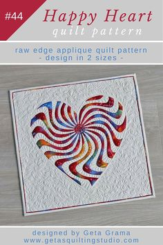 Raw edge applique quilt pattern. Tutorial on this on Geta Grama's blog but pattern needs to be purchased.