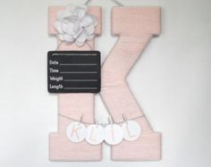 Ivory Hospital Door Hanging Letter E Pink Metal by LauraLizzies