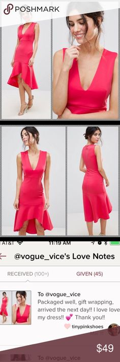 NWT ASOS pink scuba midi dress NWT. Smooth knitted fabric Plunge neck Dipped hem Slim fit - cut close to the body Machine wash 95% Polyester, 5% Elastane Dress by Club L but exclusive to ASOS. Graduation prom homecoming cute cocktail bandage bodycon floral ASOS Dresses Midi #graduationdresses