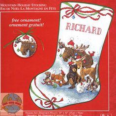 cross stitch patterns for christmas stockings jca mountain holiday stocking cross stitch world - Cross Stitch Christmas Stocking Kits