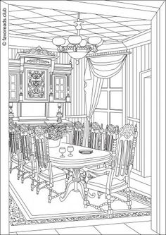 Victorian Living Room  FREE printable coloring page from