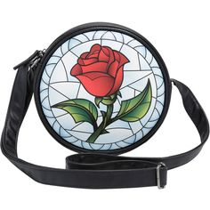 Disney Beauty And The Beast Stained Glass Enchanted Rose Crossbody Bag... ($18) ❤ liked on Polyvore featuring bags, handbags, shoulder bags, rose handbag, disney purses, zip purse, zipper handbags and crossbody purses