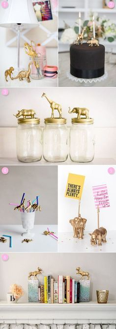 6 Awesome DIY Gold Animal Projects from @cydconverse I love them all, such a great idea... would love to make these!