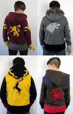 Game of Thrones hoodies from Rarity's Boutique on etsy.
