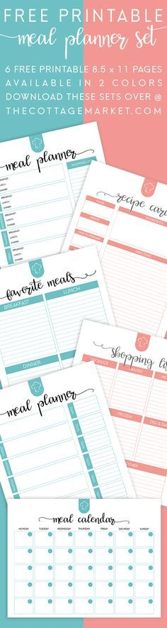 FREE Printable Meal Planner Set. 6 Free Printable 8 1/2 X 11 Pages Available In 2 Colors...Everything you need to organize your meals for the New Year!