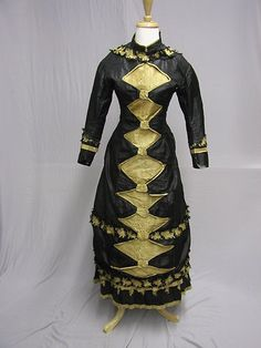 D495 1870's Princess Line Black Gold Dress
