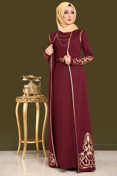 ** YENİ ÜRÜN ** Gold Baskılı 2'li Elbise Kombin Bordo Ürün Kodu: ASM2055 --> 149.90 TL
