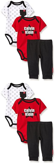 Calvin Klein Baby Boys' 3 Piece Bodysuit and Pant Set, Red/Black, 3-6 Months