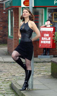"""alansbootfetish: """" Tracy from Coronation Street. Mini Skirt Dress, Mom Dress, Mini Skirts, Skirts With Boots, Jeans And Boots, Pantyhose Outfits, Coronation Street, I Love Girls, Hot Girls"""