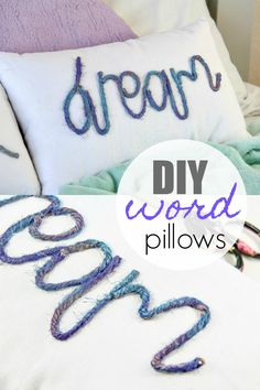 DIY Decorative Word Pillows Easy Craft Home Decor Tutorial Homemade Crafts, Diy Crafts To Sell, Home Crafts, Easy Crafts, Easy Diy, Diy Craft Projects, Craft Tutorials, Diy Rustic Decor, Diy Pillows