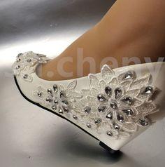 "2"" heel White ivory wedge lace flowers crystal Wedding shoes Bridal  size 5-11"