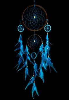 Filtro dos sonhos azul Turquesa/marrom - 60cm