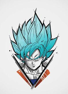 Goku Super Saiyan Blue, Dragon Ball Super Z Tattoo, Dragon Ball Gt, Blue Dragon, Doodle Art Drawing, Anime Tattoos, Z Arts, Designer, Goku Super, Super Saiyan