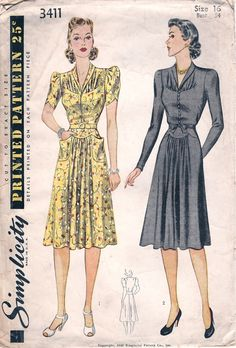 Simplicity 3411; ©1940; Misses' Afternoon Dress: Blouse front is gathered at dart seams and closed at center with slide fastener or loops and buttons. Collar is cut in one with blouse front. Skirt joins yoke. Style I has patch pockets in skirt, and short sleeves gathered in armhole. Style II has long sleeves darted in armhole, and a tie belt.
