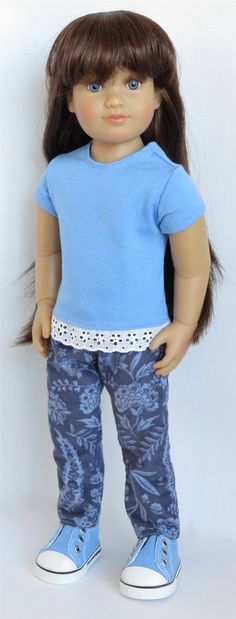 """For Kidz 'n' Cats, Magic Attic, and Other Slim 18"""" Dolls. Blue Tee with Lace and Floral Corduroy Pants."""