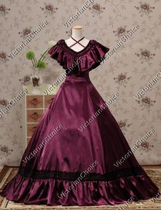 Victorian Edwardian Titanic Bridesmaid Dress Ball Gown Jane Austen Tea Party Reenactment Clothing
