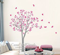 Vinyl wall decals pink tree owl and butterfly Nature Tree Wall mural Nursery wall decal children- tree owl butterfly Z142 Cuma by Cuma wall decals, $77.00 USD