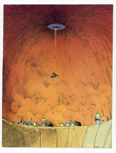 """Illustration from a Mobius story first published in """"Heavy Metal"""" in the 70's.  Guy falls through several dimensions/time fragments to finally land in Monument Valley only to produce a nuclear explosion.  Great illustrative artwork and nifty story-telling."""