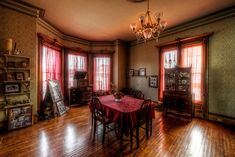 The Haunted Victorian Mansion - TrigPhotography Haunted Houses For Sale, Haunted Houses In America, Abandoned Mansion For Sale, Abandoned Mansions, Mansions For Sale, Mansions Homes, Norman Rockwell, Mansion Interior, Dining Room Design