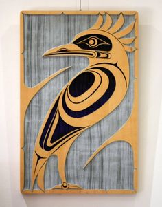 Yellow cedar panel piece measuring x x Bas relief artwork created by a sandblasting process. Painted areas of the Stellar& Jay are a gradation from royal blue near at the tail feathers, to black at the head. Native Art, Native American Art, Wood Sculpture, Sculptures, Native Drawings, Cedar Paneling, Haida Art, Inuit Art, Native Design