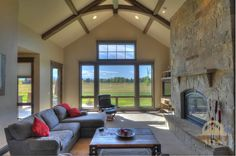 Beautiful fireplace in this Montana home. #montanarealestate #montanahomes #fireplaces
