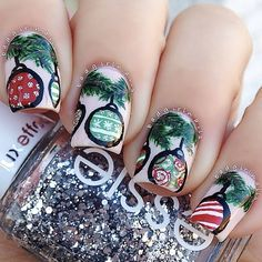 Christmas ornament nail art || 25 Amazing Christmas Nail Designs: http://sonailicious.com/25-best-christmas-nail-art-designs/