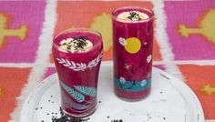 This healthy vegan smoothie is packed full of vitamins and given a gentle kick with eastern spices.   Each smoothie provides 197 kcal, 4g protein, 18g carbohydrate (of which 14g sugars), 12g fat (of which 10g saturates), 2.5g fibre and 0.4g salt.