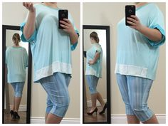 Cute casual blue top with a pretty white lace bottom. The neckline & sleeves are lined with a darker blue material. Very soft & very comfortable.  Buy now at https://www.etsy.com/ca/shop/ClassyGiselleLauren?ref=hdr_shop_menu