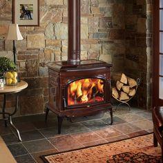 Wood Stove & Gas Logs, Fireplace installation - Covington Hearth & Home, Inc - Covington, Ga Wood Stove Decor, Wood Stove Wall, Corner Wood Stove, Wood Stove Surround, Wood Stove Hearth, Stove Fireplace, Wood Burner, Fireplace Design, Fireplace Ideas