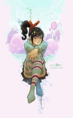Vanellope by mah husband because he is awesomesauce. Disney Wiki, Disney Fan Art, Disney And Dreamworks, Disney Love, Disney Pixar, Disney Animated Movies, Cartoon Movies, Cartoon Pics, Cartoon Drawings