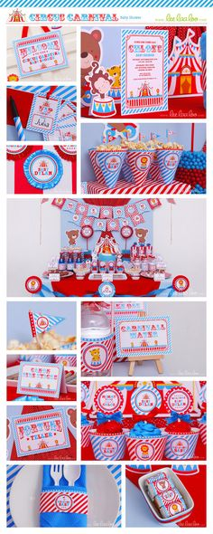 Circus Baby Shower Package Collection Set Mega by leelaaloo.com II #diy #party #theme  #circus #carnival #theme #blue #leelaaloo