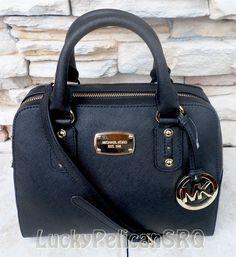 MICHAEL Michael Kors Small Saffiano Black Satchel Bag Handbag 35S3GSAS1L #MichaelKors #Satchel