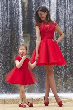 50dffa7c249 2016 Flower Girls Dresses For Weddings Red Lace Jewel Neck Short Mini Party  Birthday Dress Children Mother and Daughter Girl Pageant Gowns