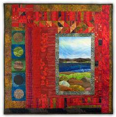 Original Art Quilt, Fabric Landscape, Hearts Home by HeatherLairDesigns. Find more @ http://www.etsy.com/people/HeatherLairDesigns