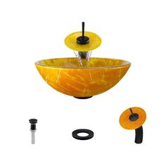 MR Direct Double Layer Glass Vessel Sink In Yellow And Orange With  Waterfall Faucet And Pop