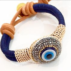 Bracelet By Vila Veloni Handmade Blue Macrame With Big Blue Eye