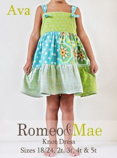 Toddler Sizes Ava Knot Dress Digital Sewing Pattern Tutorial Instructions, Instant Download from Romeo and Mae