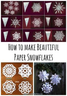 How to make Beautiful Paper Snowflakes - Kitchen Fun With My 3 Sons - Craft Ideas - The Dallas Media Paper Snowflakes Easy, Snowflakes For Kids, Paper Snowflake Template, Paper Snowflake Patterns, Diy Christmas Snowflakes, Snowflake Cutouts, Paper Christmas Decorations, Christmas Paper Crafts, Holiday Crafts