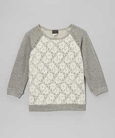 Take a look at this Heather Gray Lace Raglan Sweatshirt by Btween on #zulily today!