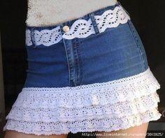 Как джинсы превратить в юбку