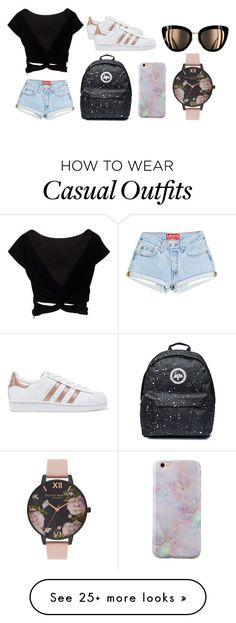 """Rose gold casual"" by mnelson-4 on Polyvore featuring adidas Originals and Olivia Burton"