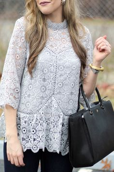 High Neck Lace Blouse II Tory Burch Large Zip Robinson Tote