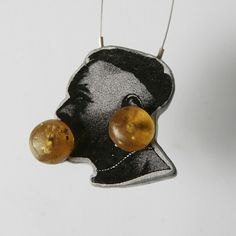 """Baako II"" necklace - steel, silver, amber, wood - LIS2 ADRIANA LISOWSKA + ANETA LIS-MARCINKIEWICZ-PL"