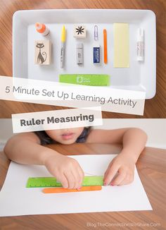 This measurement activity for kids takes less than 5 minutes to set up. #kindergarden #ruler
