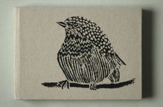 Linocut print bird on a handmade notebook. Bird notebook by Fish without a Bicycle