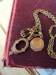 Vintage Style Medallion Charm Necklace by primitivepincushion